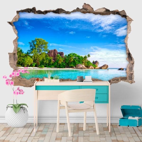 Vinilos decorativos isla La Digue Seychelles 3D