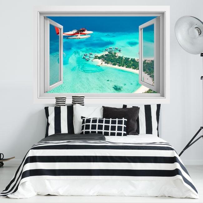 Vinilos ventana avioneta Islas Maldivas 3D