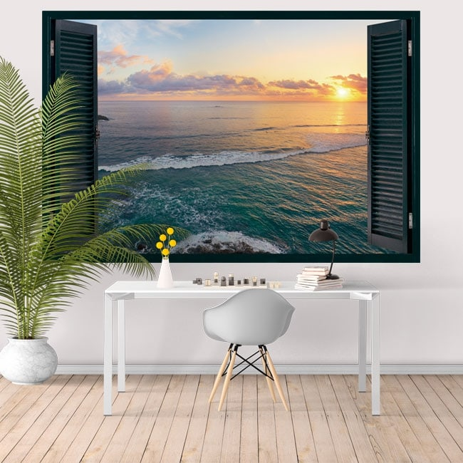 Vinilos de pared ventana atardecer Isla Tropical 3D