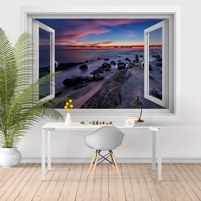 Vinilos decorativos ventanas atardecer mar negro 3D