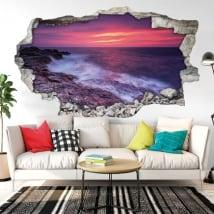 Vinilos decorativos atardecer en el mar negro 3D