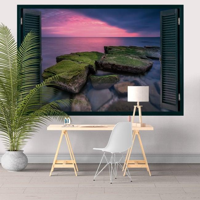 Vinilos decorativos ventana atardecer en el mar negro 3D