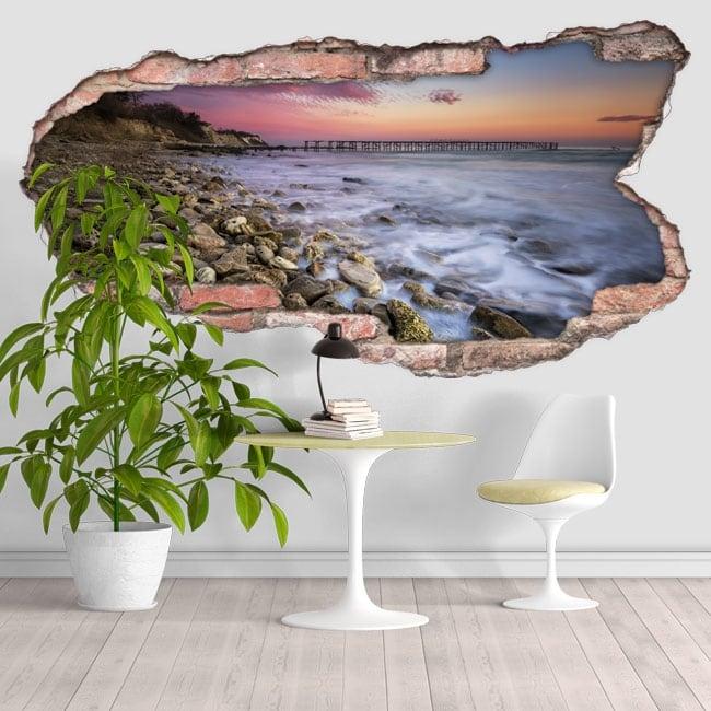 Vinilos decorativos atardecer en la costa 3D