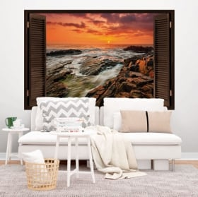 Vinilos ventana amanecer en la costa 3D