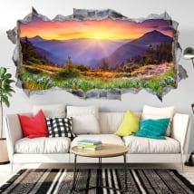 Vinilos paredes atardecer en las montañas 3D