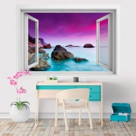 Vinilos y pegatinas ventana 3D atardecer en el mar