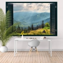 Vinilos decorativos ventana montañas 3D