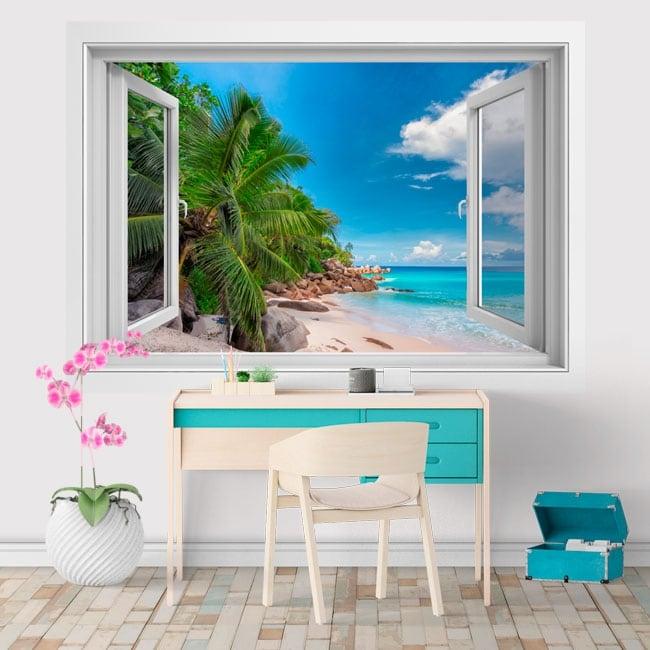 Vinilos decorativos ventana Islas Seychelles 3D