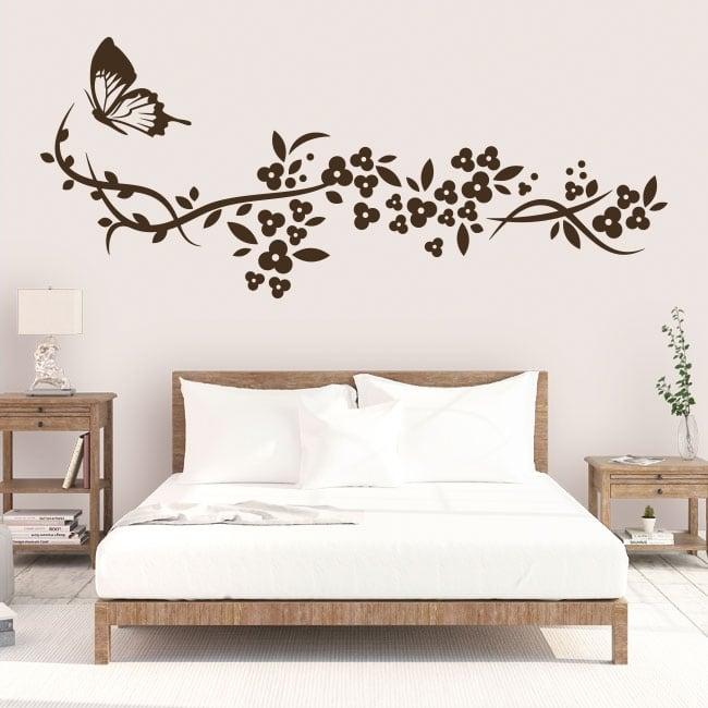 Vinilos decorativos mariposa y flores