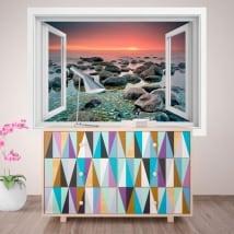 Vinilos decorativos ventana atardecer en el mar 3D