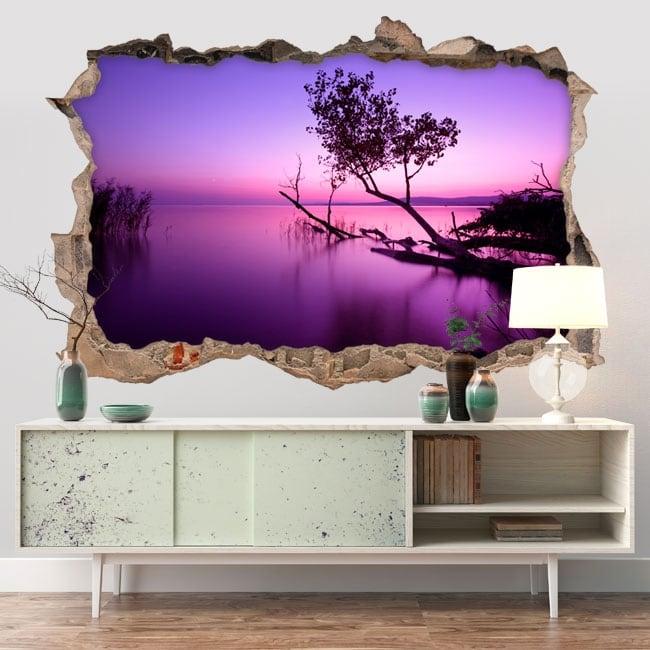 Vinilos decorativos atardecer en el lago 3D