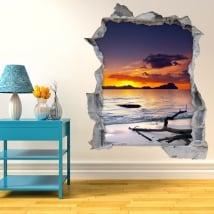 Vinilos decorativos paredes atardecer en la playa 3D