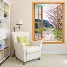 Vinilos decorativos ventanas árbol cerezo Japón 3D