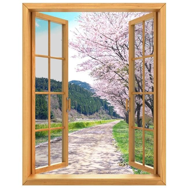 Vinilos decorativos ventanas rbol cerezo jap n 3d for Vinilos decorativos 3d