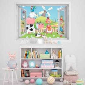 Vinilos infantiles ventana granja animales 3D