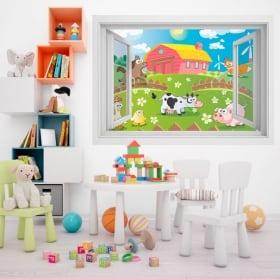 Vinilos infantiles animales en la granja 3D