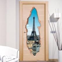 Vinilos decorativos puertas París Torre Eiffel 3D