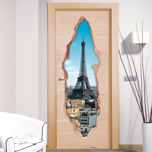 Vinilos decorativos puertas par s torre eiffel 3d for Vinilos decorativos 3d