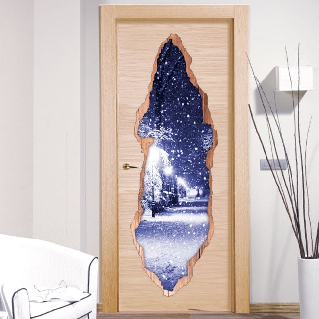 Vinilos decorativos puertas plaza nevada 3D