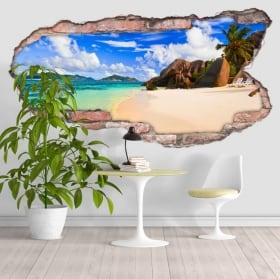 Vinilos playa Anse Source D'Argent Seychelles 3D