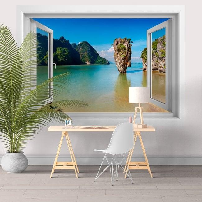 Vinilos decorativos ventana isla James Bond Tailandia 3D