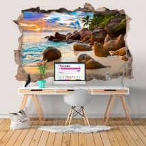 Vinilos decorativos isla tropical al atardecer 3D