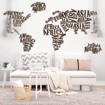 Vinilos y pegatinas mapamundi continentes