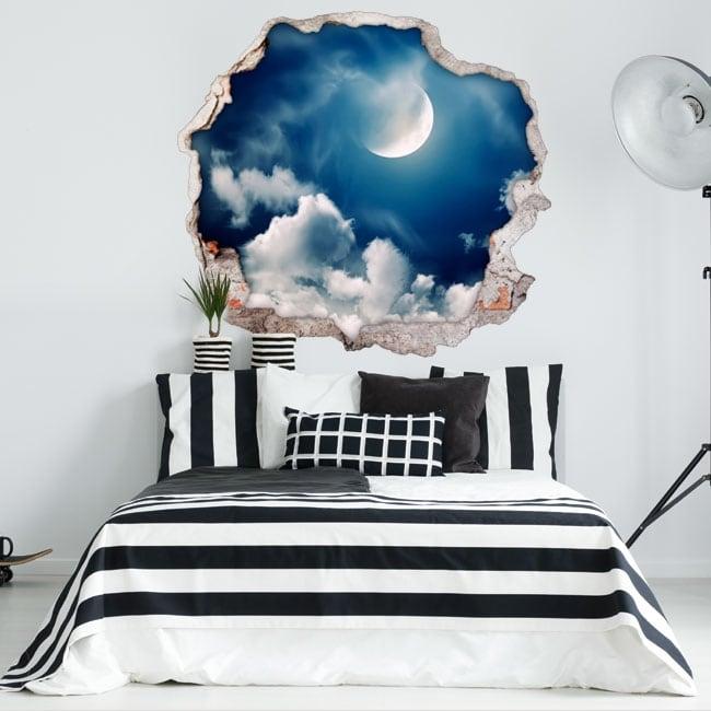 Vinilos decorativos luna y nubes 3D