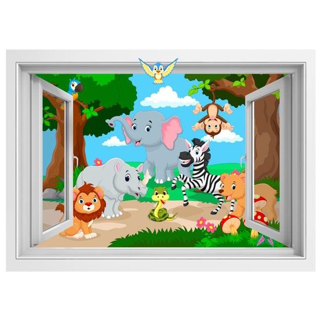 Vinilos infantiles animales en la selva 3d for Vinilos 3d infantiles