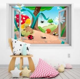 Vinilos infantiles bosque 3D