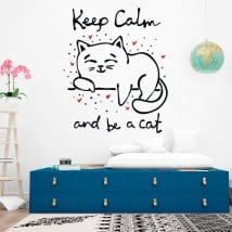 Vinilos decorativos frase keep calm and be a cat