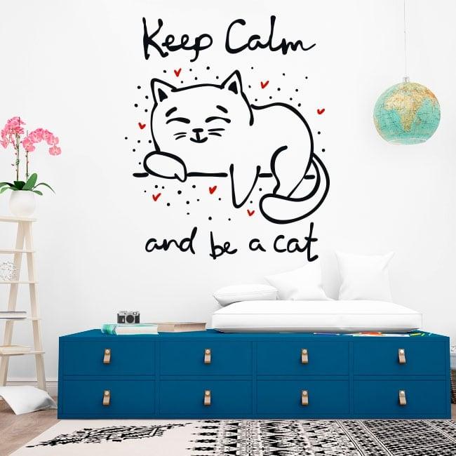 Vinilos decorativos frase keep calm and be a cat