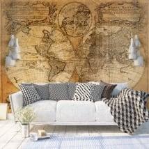 Fotomurales de vinilos mapamundi vintage