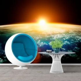 Fotomurales de vinilos planeta tierra y sol 3D