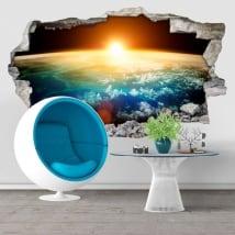 Vinilos decorativos planeta tierra y sol 3D