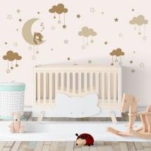 Vinilos infantiles osito dormilón en la luna