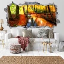 Vinilos paredes atardecer bosque otoño 3D