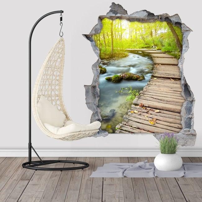 Vinilos de pared pasarela sobre el arroyo 3D