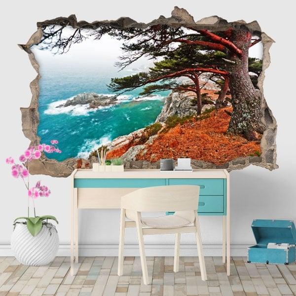 Vinilos árbol cedro en Rocky Island 3D