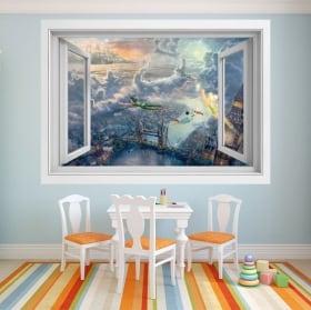 Vinilos decorativos ventana Peter Pan 3D