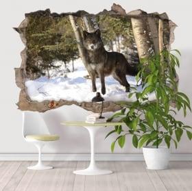 Vinilos decorativos lobo en el bosque 3D