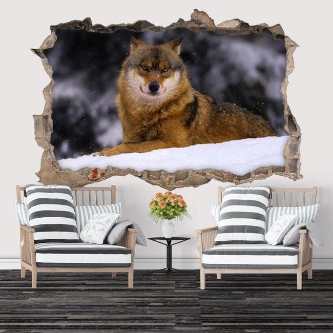 Vinilos decorativos lobo en invierno 3D