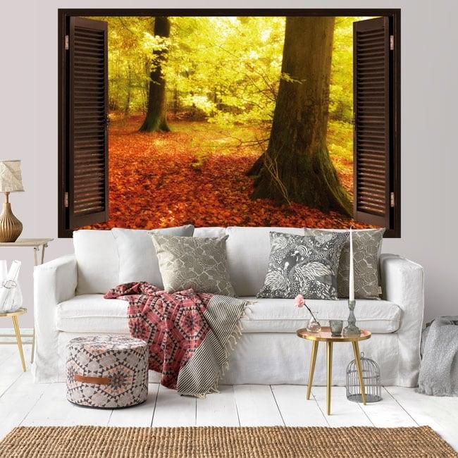 Vinilos ventana árboles otoño 3D