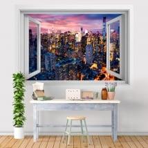 Vinilos ventana Nueva York Manhattan atardecer 3D