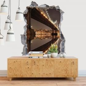 Vinilos paredes Nueva York puente Manhattan 3D