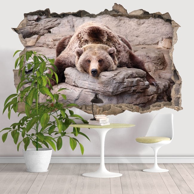 Vinilos decorativos paredes oso grizzly 3D