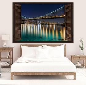 Vinilos ventana puente de Brooklyn 3D