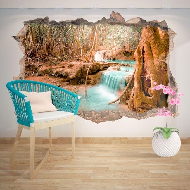 Vinilos decorativos cascada naturaleza 3D