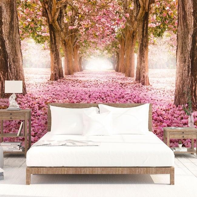Fotomurales árboles flores rosadas