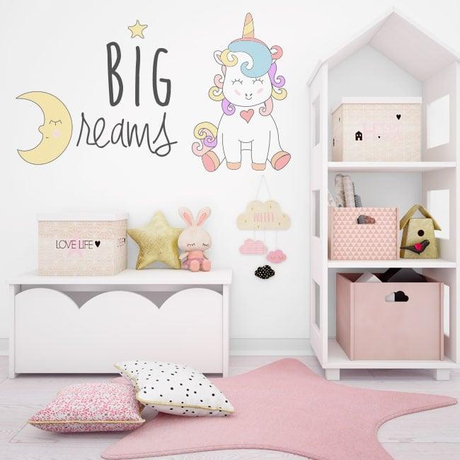 Vinilos decorativos unicornio big dreams